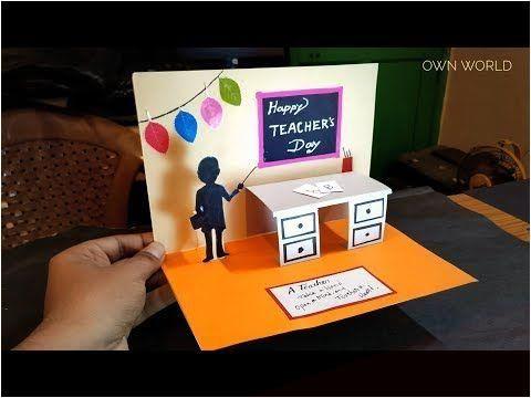 Diy Teacher S Day Card Handmade Teachers Day Pop Up Card Making Idea Make Up Green In 2020 Teachers Day Card Teachers Diy Teacher Birthday Card