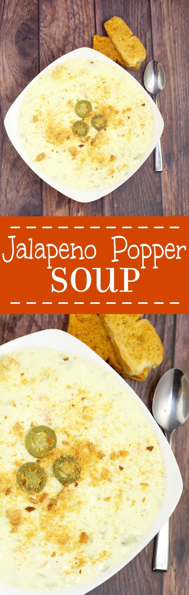 Creamy and warm with a kick of spicy, this Jalapeno Popper Soup recipe makes eating appetizers for dinner totally okay! Tastes just like the real thing, topped with crunchy garlic croutons for the perfect touch. Mmmm.... I love Poppers.  Would be delicious with some extra cheese!