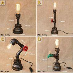 Retro Industrial Iron Pipe Tischlampe Loft RH Schreibtischlampe Stehleuchte #Pip …
