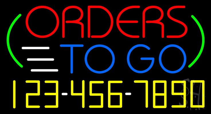 Orders To Go with Phone Number Neon Sign 20 Tall x 37 Wide x 3 Deep, is 100% Handcrafted with Real Glass Tube Neon Sign. !!! Made in USA !!!  Colors on the sign are Red, Yellow, White, Blue and Green. Orders To Go with Phone Number Neon Sign is high impact, eye catching, real glass tube neon sign. This characteristic glow can attract customers like nothing else, virtually burning your identity into the minds of potential and future customers.