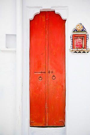Udaipur, Rajasthan, India Red orange door.