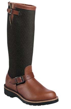 """Women's 17"""" brown leather and 1000 denier cordura snake boot. This boot features body cushion insole and vibram robinson outsole, two layers of snake bite protection and Goodyear leather welt construction. Guaranteed snake proof, we have had more than a dozen people in south Texas who have been struck by rattlesnakes while wearing this boot and it stopped the fangs in every case. Wear these boots with confidence. Chippewa _Made in USA Women's model L23913"""