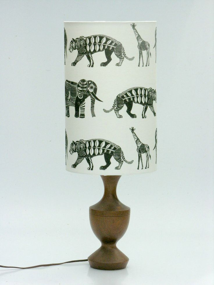 """Small """"Graphic Zoo"""" Lampshade for a kid's room   www.boldlampshades.co.nz  bold fabric drum lampshades custom made"""