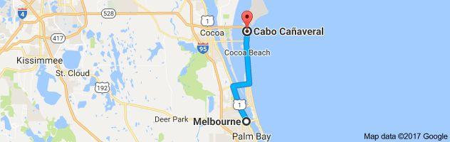 Mapa de Melbourne, Florida, EE. UU. a Cabo Cañaveral, Florida, EE. UU.