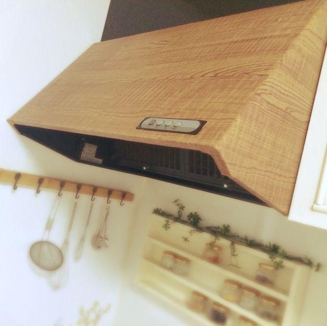 貼るだけ♡レンジフードを100均シートでリメイク♪レンガ×ウッドで最強キッチン作り