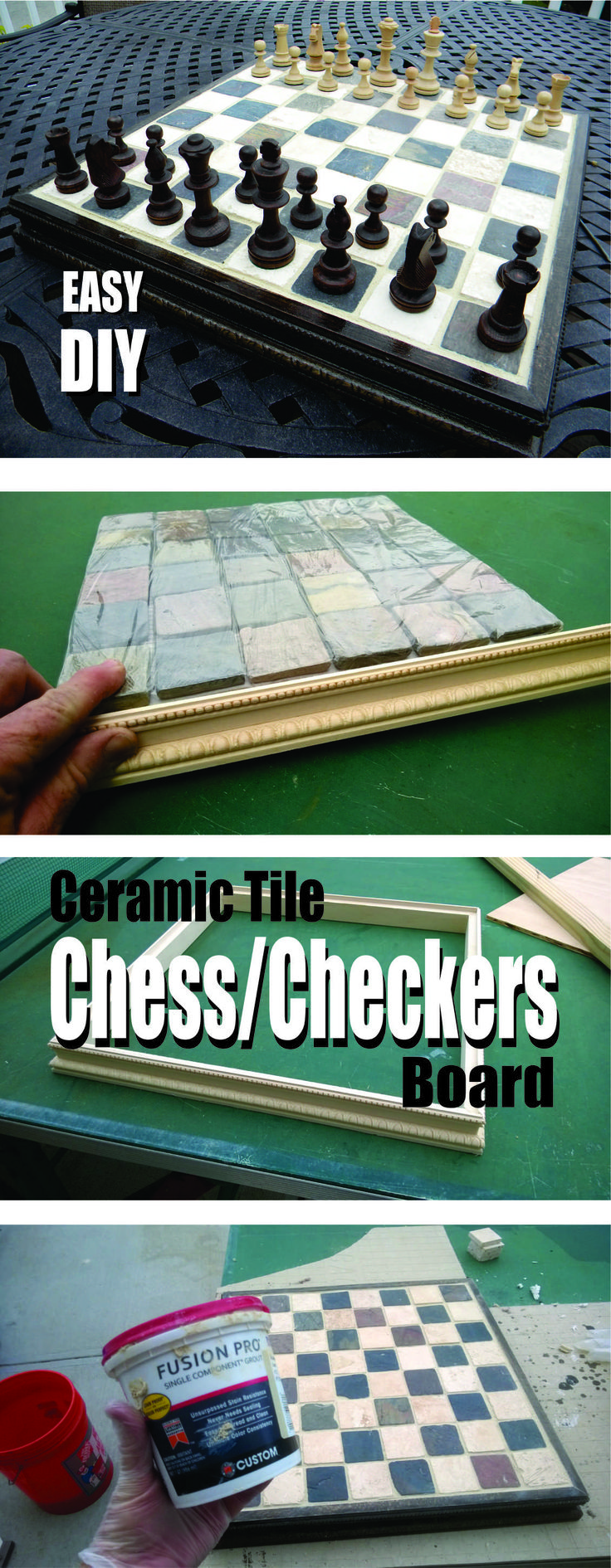 Easy DIY ceramic tile chess or checkers board. www.DIYeasycrafts.com