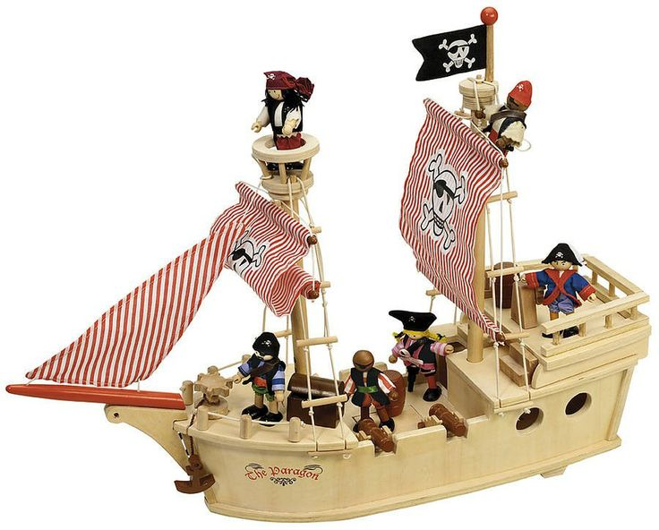 Large Wooden Toy Pirate Ship With Crew This Is A Large 25