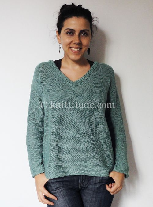 Casual Green Sweater Pattern for Standard Knitting Machine