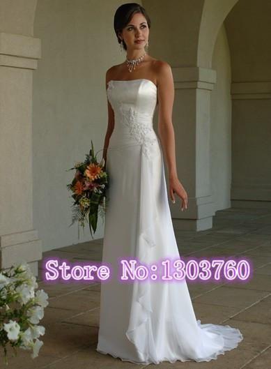 White Ivory Chiffon Long Noble Strapless Wedding Dress Trailing Vestido De Noiva