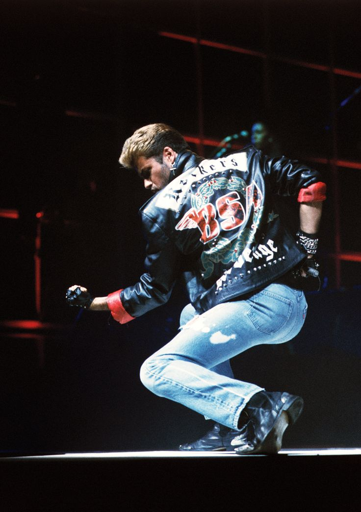 George Michael wearing the leather jacket that was burnt in Freedom video.
