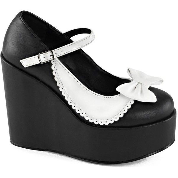 Demonia Poison-04 Two Tone Mary Jane Platform Pump Black/White ($37) ❤ liked on Polyvore featuring shoes, pumps, mary jane shoes, wedge mary janes, platform wedge shoes, mary jane pumps and wedge pumps