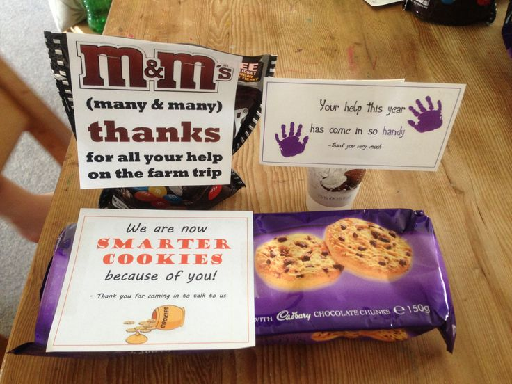 Assorted pre-school parent helper thank you gifts
