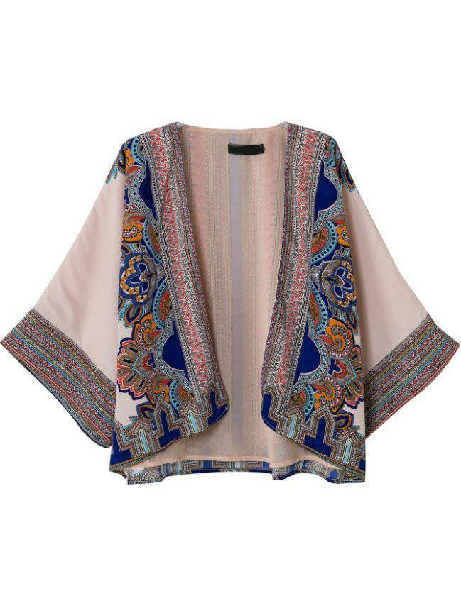 Apricot Long Sleeve Tribal Print Loose Kimono - Sheinside.com