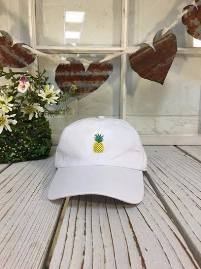 Pineapple Baseball Caps Embroidered Black Polo Baseball Cap Low Profile Curved Bill