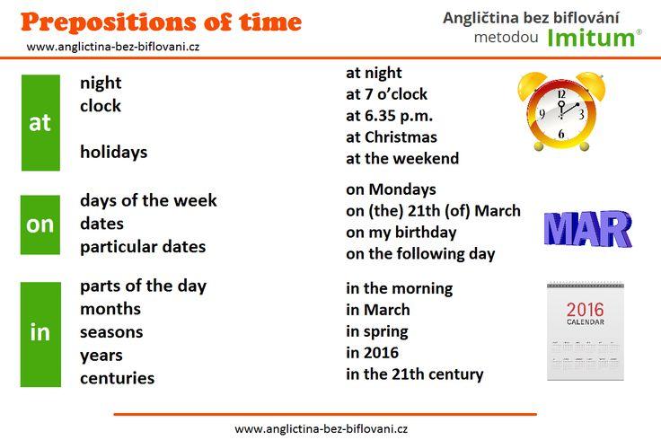 Stručný přehled používání časových předložek AT, ON a IN.