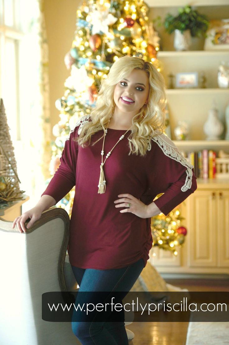 This burgundy top is stretchy and comfy and perfect for a curvy girl's closet! The crotchet detailing on the arms adds the perfect touch! You will be obsessing over the soft and stretchy material, for a fit you will love all day long!