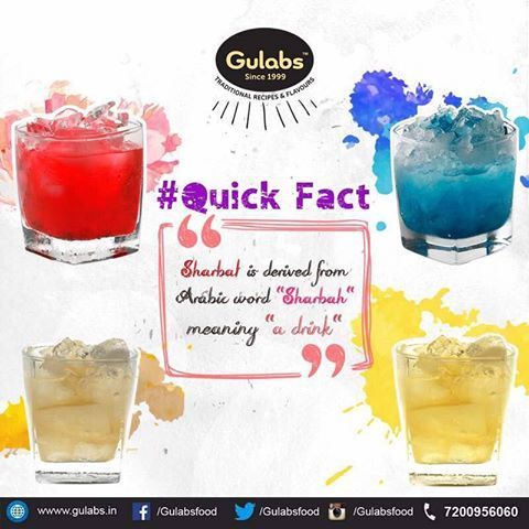 Here's a quick fact about the origin of the word #Sharbat!  #gulabs #drink #summerdrink