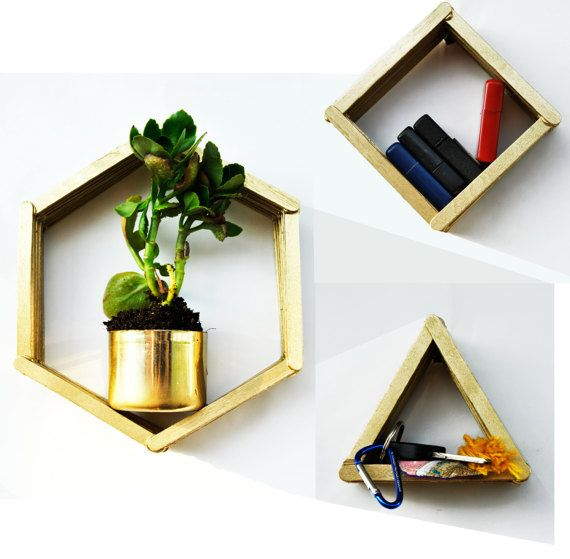 SET of 3 WOODEN wall organizers, wall shelf, wooden rack, Entry hall storage, Geometric floating shelf, reclaimed wood, geomteric art,
