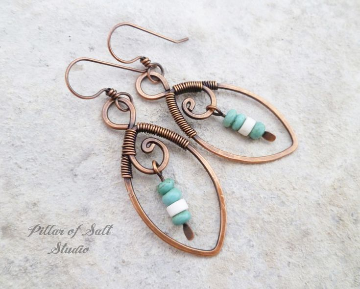 Leaf Wire wrapped earrings / Solid copper earrings / turquoise and white / wire wrapped jewelry / wire jewelry / copper jewelry earthy boho by PillarOfSaltStudio on Etsy https://www.etsy.com/listing/485947509/leaf-wire-wrapped-earrings-solid-copper