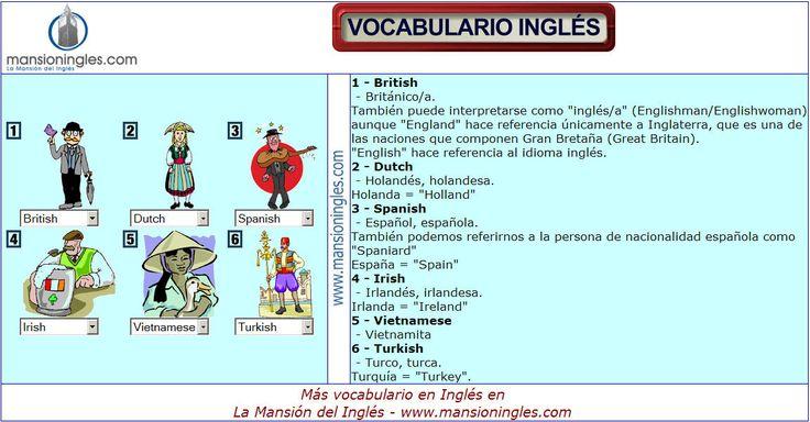 Vocabulario En Ingles De Nacionalidades Vocabulario Vocabulario En Ingles Vocabulario Ingles Espanol