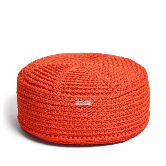 Hand crochet orange pouf/ poliester  pouf/  floor cushion/ hypoalergic pouf/rope  poof /bean bag chair/ Ottoman/ footstool/ rustic pouf