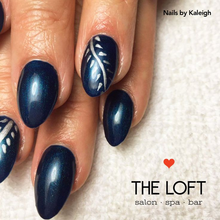 Deep navy blue manicure with organic vine design on accent nail by Kaleigh at The Loft in Winnipeg.