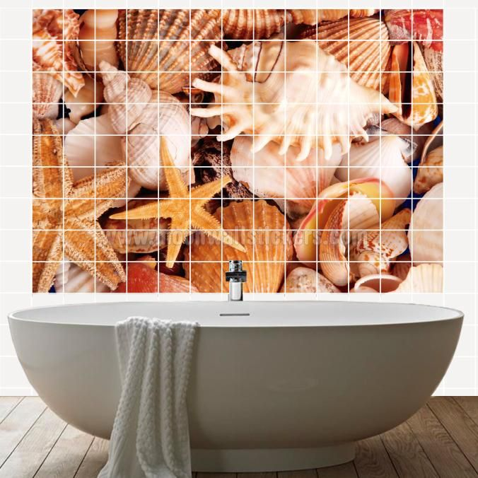 Seashell Tile Murals - If you are the kind of person that are looking for a piece of art in your Kitchen Tile Wall or Bathroom Tile Wall apply this Seashell Tile Murals is the perfect choice. #Tiles #Murals #Decals #Covers #Photos #Stickers #Seashell