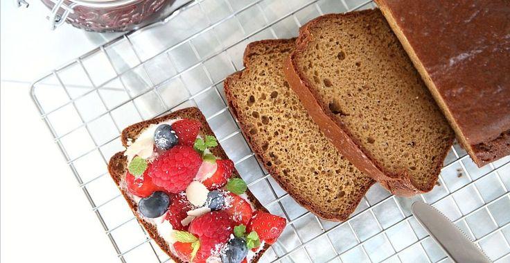 Low-carb, glutenvrij brood met cashewboter gemaakt. Ideaal voor wie glutenvrij wil eten. Suuuuuper lekker en zacht van structuur. YUMMIE!
