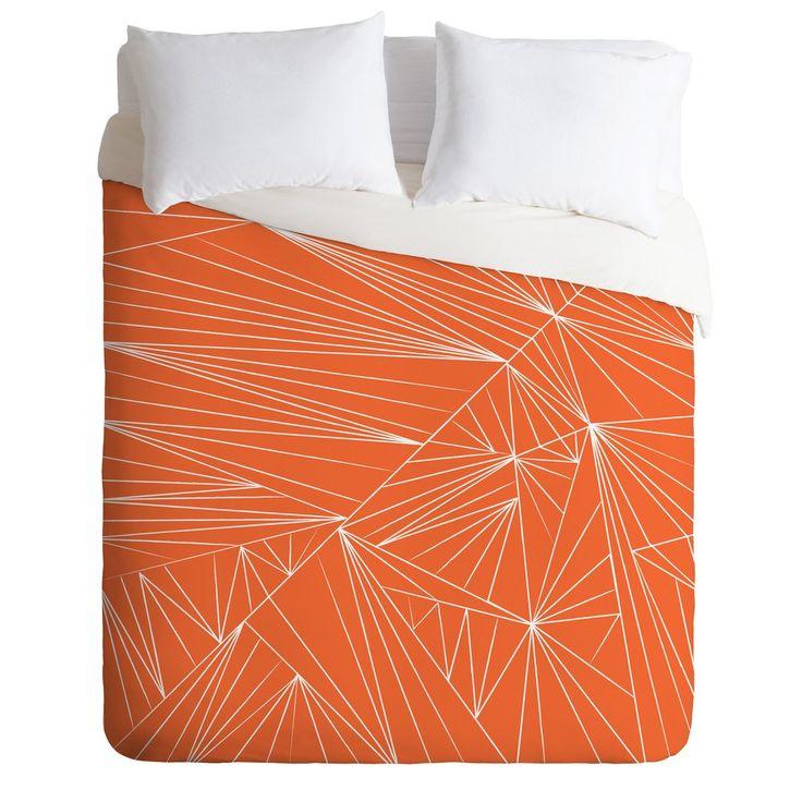 Vy La Tech It Out Orange Duvet Cover   DENY Designs Home Accessories
