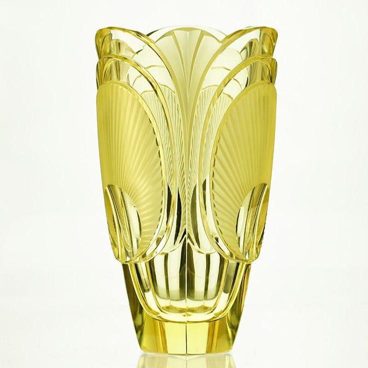 c.1920s-30s citrine relief moulded & cut Deco glass vase, Rudolf Hlousek