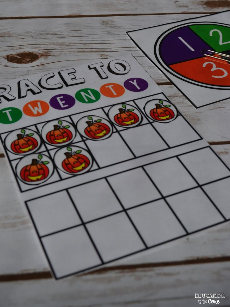 Education to the Core: FREE Race to 20 Math Center for October or Halloween!