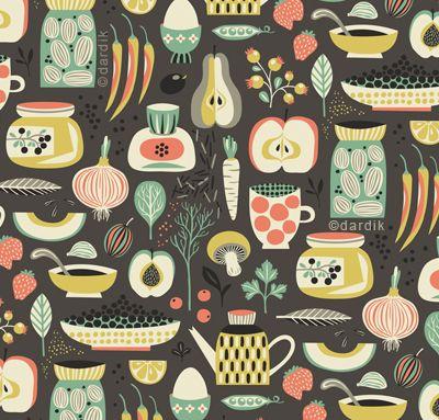 Helen Dardik #colour #colorHelen Dardik, Magic Kitchens, Food Prints, Pattern Design, Berries Illustration, Prints Fabrics Kitchens, Retro Style, Kitchens Pattern, Food Pattern