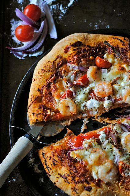 Shrimp and Goat Cheese Pizza by How To: Simplify