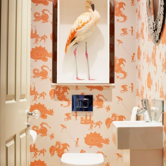 Cloakroom with dragon wallpaper