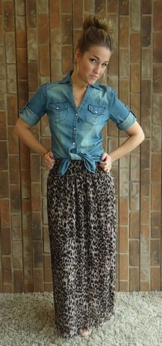 Kardashian Maxi Skirt - I was wondering how I might casual down an animal print maxi - I like this