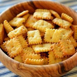 Homemade Cheezits:  8 oz extra-sharp cheddar cheese  ½ stick unsalted butter  1 tsp. kosher salt  1 c flour  2 T water