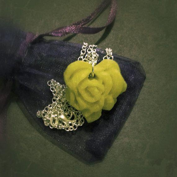 Unique Hand Sculpted Heart Shaped Rose Pendant by CuteasaButton76