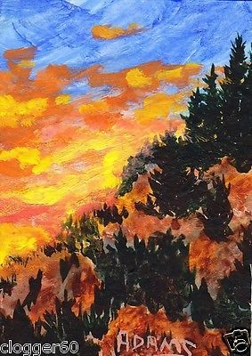 ACEO Mountain Sunset Evergreen Silhouettes Original Acrylic Painting Pat Adams.  Available paintings can be seen in my Ebay store at: http://stores.ebay.com/Pat-Adams-Art-Paintings-and-Photos