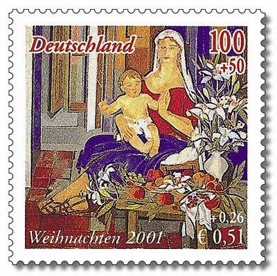 Alemania - Sello Navidad 2001.  Último sello en marcos y primero en euros.