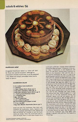 """calls for """"emergency aspic"""", non specific mushrooms...because in the 60's all mushrooms were button or hallucinogenic"""