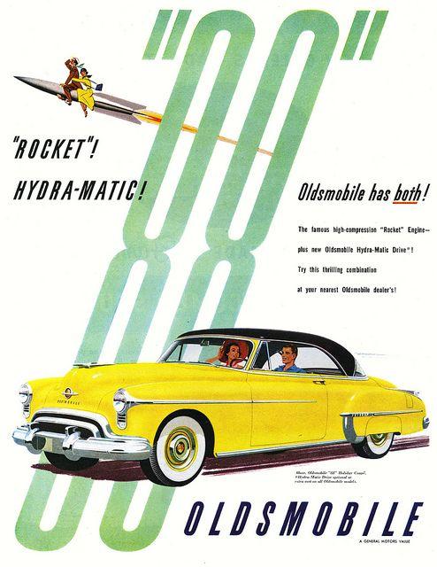 1950 Oldsmobile 88- 1949 bis 1999 von Oldsmobile/ General Motors gebaut. Ursprünglich wurde ein  Achtzylindermotor verbaut,  dafür stand die zweite 8 in der 88 ab 1977 wurden im 88 aber auch Sechszylindermotoren angeboten.