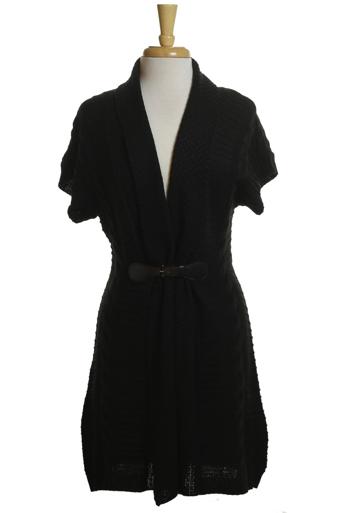 Black Cable Knit Belted Cardigan