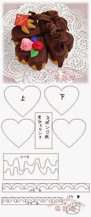 ***Felt Chocolate Heart Cakes(內含不同類型紙型)