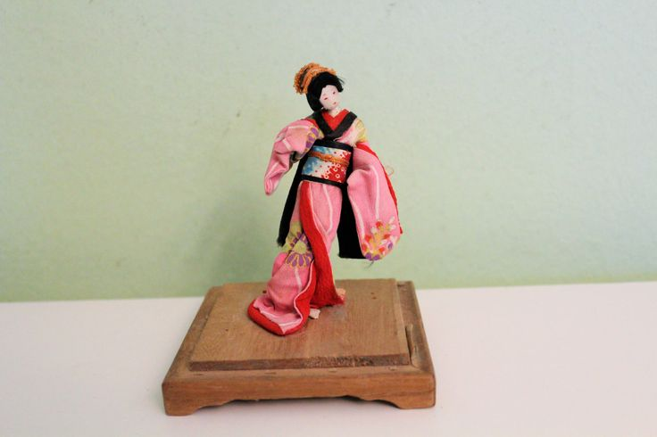 Antique Japan Geisha Girl Doll, Geisha Figurine, Japanese Doll on Wooden Stand, Pink Dress, Asian Collectible Decor by Grandchildattic on Etsy