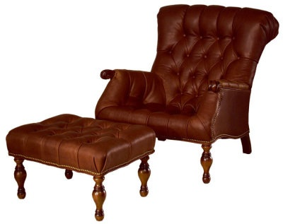 "Ease your refreshed self into cushioned suppleness of buttery, warm leather. A myriad tufted pillows massage the back while maintaining an aristocratic demeanor. Prop your slippered feet onto the ottoman while you savor your morning news and coffee. Leather Chair 32x40x37"". Ottoman 25x18x15""."