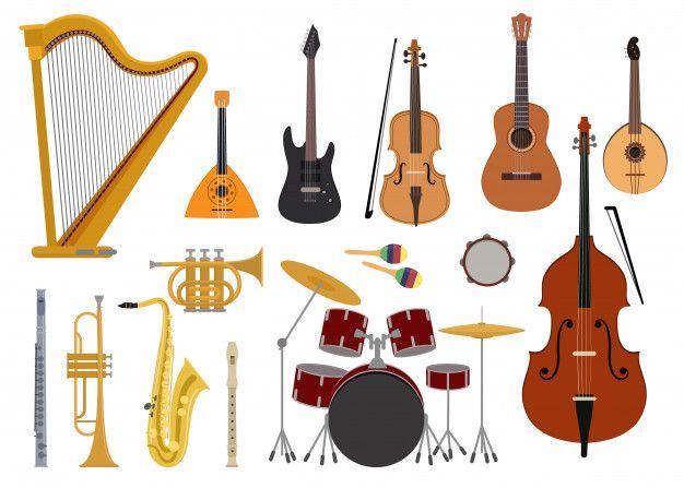 Strumenti Musicali Vettore Concerto Di Musica Con Chitarra Acustica Balalaika E Musicisti Violino Arpa Illustrazione Imposta Strumenti A Fiato Tromba Sassofono Strumenti Musicali Strumenti A Fiato Chitarra Acustica