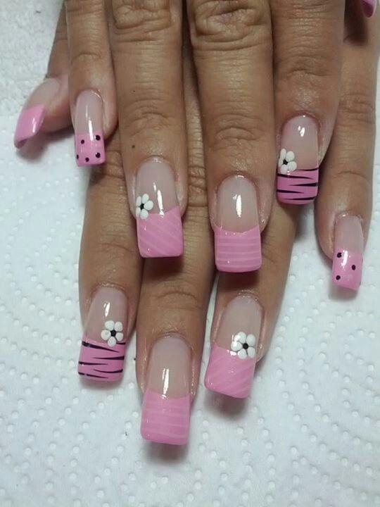 Uñas frances rosa - flores y animal print