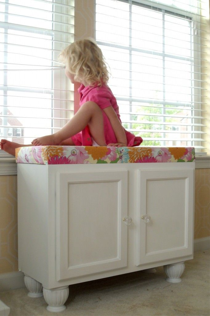kitchen cabinet turned into storage bench