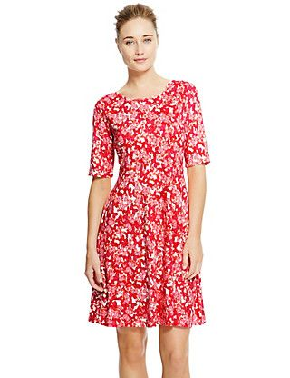Ditsy Butterfly Print Skater Dress | M&S