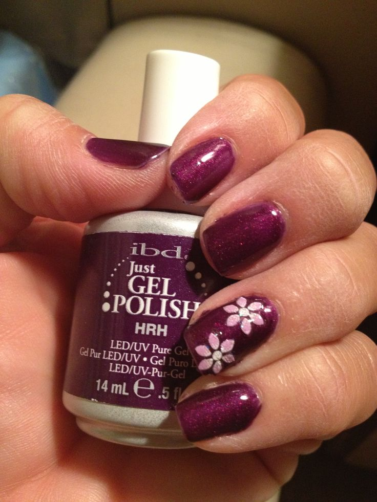 Ibd Gel Polish In Hrh With Flower Accent Decals Nail It